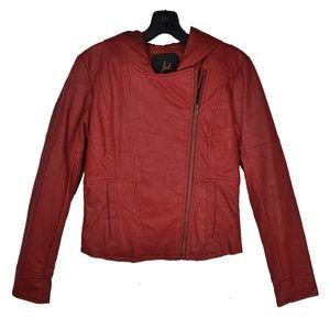 Red Hoodie Motorcycle Faux Leather Jacket
